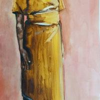 Vrouw in geel (gemengd) 30 x 55 cm