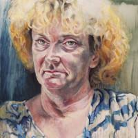 Vrouw met krullen (olie) 100 x 100 cm