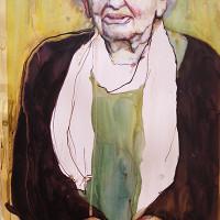 Vrouw met sjaal II ( gemengd) 35 x 55 cm