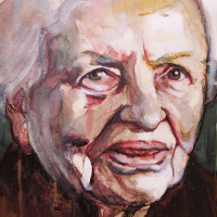 Vrouw met sjaal IV (gemengd) 25 x 35 cm