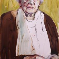 Vrouw met sjaal ( gemengd) 35 x 55 cm